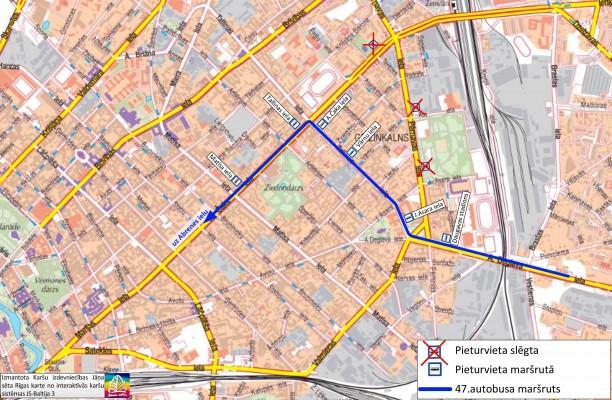 No 13. līdz 17. martam būs izmaiņas 47. maršruta autobusa kustībā