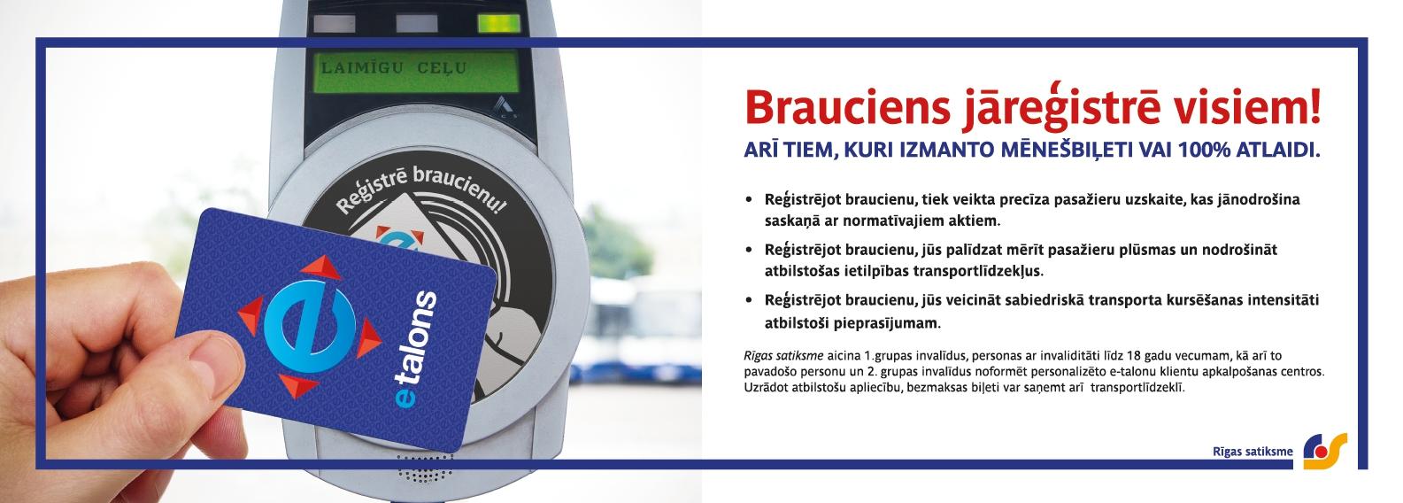 """Rīgas satiksme"" reminds: everybody has to register his or ..."