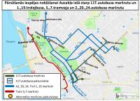 Pasažieri, kuri iegādājušies mēneša biļetes 11.tramvaja maršrutam tās var izmantot citos maršrutos, kas kursē līdz Ausekļa ielai