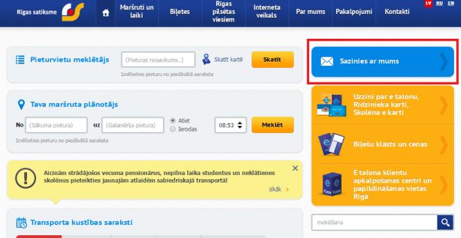"""Rīgas satiksme"" creates new ""Contact us"" section on its ..."